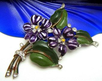 Fabulous Crown Trifari Pat Pend Enamel Violets Fur Clip Rhinestones