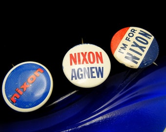 Lot of 3 Nixon Political Presidential Campaign Buttons