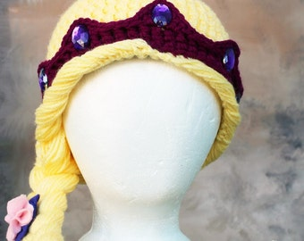Tangled Rapunzel blond princess with flower thick crochet hat MADE TO ORDER