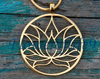 Lotus flower pendant with chain - Stainless Steel, TiN (gold color) coating