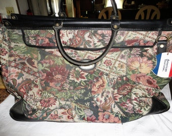 American Tourister Carry On Bag Floral Tapestry Travel Luggage Vintage Overnight Tote