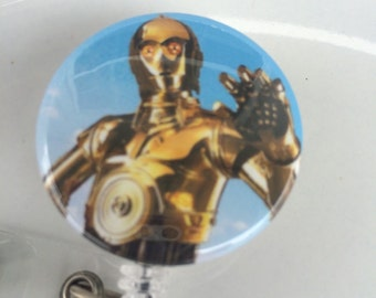 Star robot badge cover-star wars-C-3PO-star wars badge reel-space lanyards-star wars id-retractacble id-teacher badge