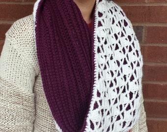 Handmade Crochet Snow Drops Reversible Cowl, Women's Scarf, Infinity Scarf, Purple White, Fall, Winter