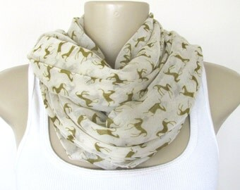 Horses Scarves Tan and Taupe Hourse Design Fashion Scarf