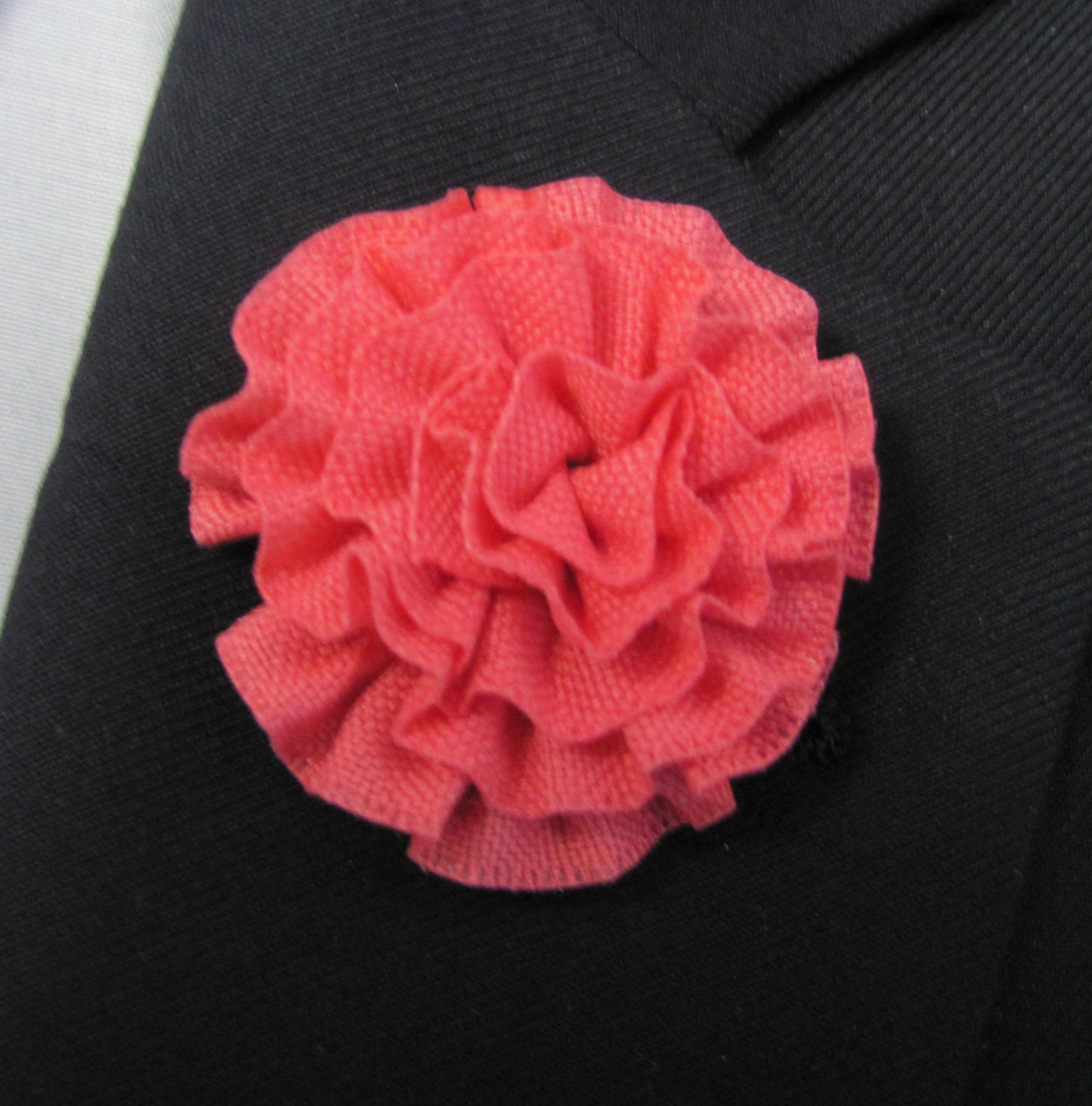 Boutonniere Red Silk Flower With 2 Inch Stick Lapel Pin