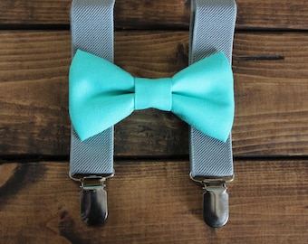 Bowtie & Suspenders- Pool and Gray