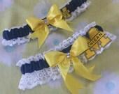 University of Michigan Wolverines UM Inspired Wedding Garter Belt Set w/ White Lace Navy Blue Yellow