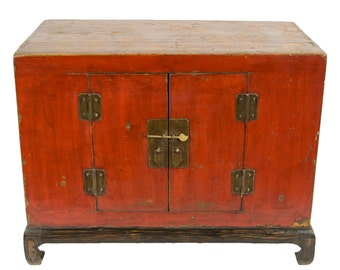 Antique Chinese Storage Cabinet, Console or Media Piece in Lacquered Red  (Los Angeles)