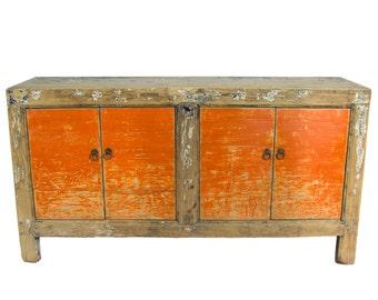Antique Chinese Storage Credenza in Distressed Orange (Los Angeles)