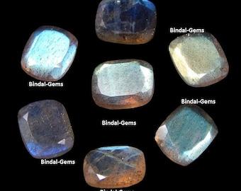 15 Pieces Lot Natural Labradorite Octagon Cushion Faceted Cut Calibrated Gemstone