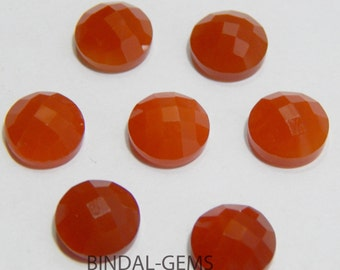 Wholesale Lot 10 Pieces Amazing Red Onyx Round Shape Checker Cut Gemstone For Jewelry