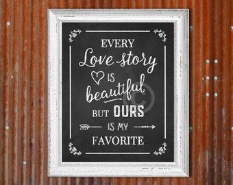 Small Chalkboard Sign - Every Love Story is Beautiful but OURS is my Favorite. Instant download print w/ chalkboard-like backgound, 8x10