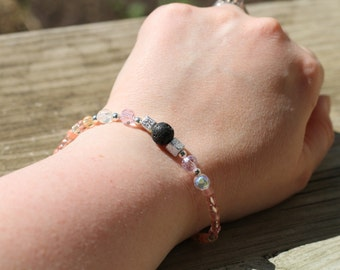 Pink and Silver Lava Rock Essential Oil Bracelet