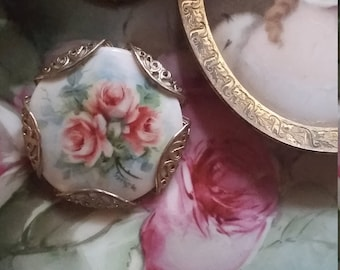 Vintage Porcelain Painted Pin Brooch