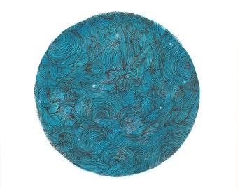 Fine Art Print Watercolor Waves Line Drawing Print Pen and Ink Illustration Ocean Sea Blue