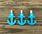 Blue Anchor Clothespins Yachting Gone Sailing theme Clips 12 Baby Shower Beach Nautical Wedding Party Favors Sea Nursery Decor Party