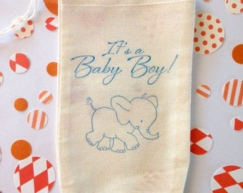 Its a Girl / Boy Baby Shower Favor Bag Elephant Theme Stamped Muslin Cotton Bag Party Gift Set of 10