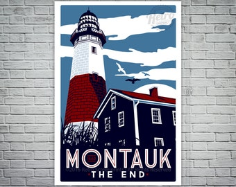 Montauk Light House Retro Vintage beach Screen Print poster