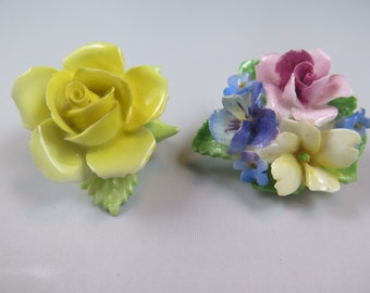 Two China Flower Brooches - Made in England