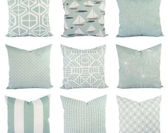 Outdoor Blue Pillow Cover - Outdoor Throw Pillow - Decorative Pillow - Soft Blue Pillows - Patio Pillows - Blue Pillows - Blue Green Pillows