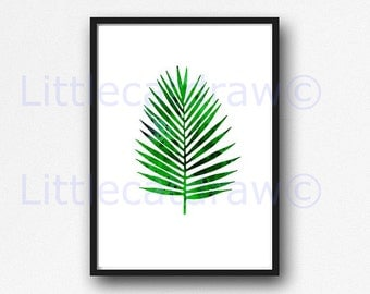 Palm Leaf Print Watercolor Painting Green Wall Art Home Decor Tropical Home Decor Watercolor Print Art