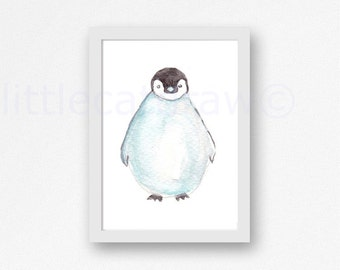 Cute Penguin Watercolor Painting Art Print Illustration Art Drawing Watercolor Print Penguin Watercolour Wall Art Watercolor
