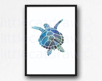 Sea Turtle Print Swimming Blue Sea Turtle Art Print Watercolor Painting Nautical Print Watercolour Bathroom Wall Art Decor Watercolor