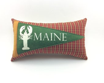 Maine Lobster Vintage Inspired Pennant Pillow 11 inches