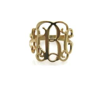 Monogram ring, gold monogram ring, unisex ring, choose any initial. Men ring, initial ring, gift for him, gift for her.