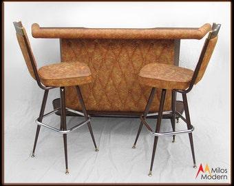 Vintage 60s Mid Century Modern Chromcraft Dry Bar w/ Stools Orange & Brown NICE