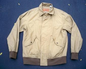 Vintage Schnee's Light Brown Cotton Flight Motorcycle Biker Riding Men's Jacket Coat Size Medium