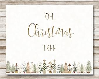 Oh, Christmas Tree Printable Holiday Song Wall Art 4x6 5x7 8x10 11x14 Christmas Decor Christmas Art Print Christmas Tree Printable