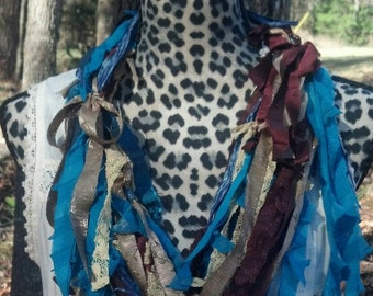 RECYCLED REMNANTS Upcycled Scrappy Scarf in Jewel Tones
