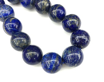 20mm Natural Blue Lapis Lazuli Beads, Round Lapis Lazuli Beads, Loose Gemstone Beads, Stone Beads For Jewelry Making 5 pcs