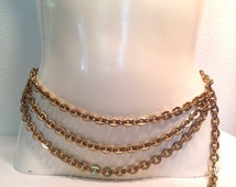 Ladies Triple Gold Chain Link Belt ca. 1980's -Thick Gold Metal Cinch Belt for Women - Heavy Draping Belt