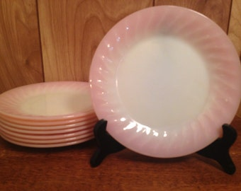 Rare Set of 8 Vintage Fire King PINK SWIRL 7.5-Inch Salad or Dessert Plates, Retro Pink & White Glass Dishes, Collectible Mid Century Retro