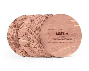 Austin Map Coaster Set