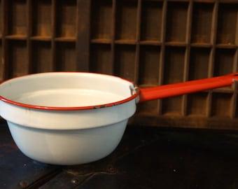 Vintage Red and White Enamel Sauce Pan