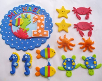 UNDER the SEA Fondant Cake and Cupcake Decorations Personalized