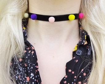 Rainbow Multicoloured Pom Pom Furry Ball Kawaii Flocked Velvet Necklace Choker Jewellery Jewelry