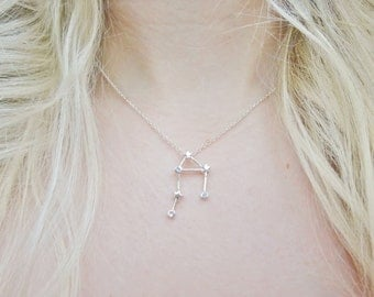 Libra Constellation Star Sign Zodiac Astrology Space Sci Fi Dainty Silver Pendant Necklace Jewellery Jewelry