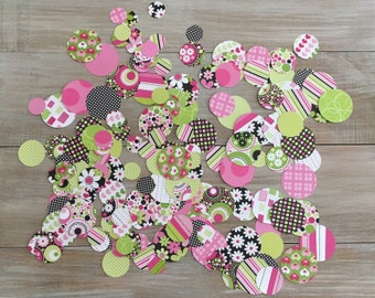 Green & Pink Paper Confetti. DIY Garland.