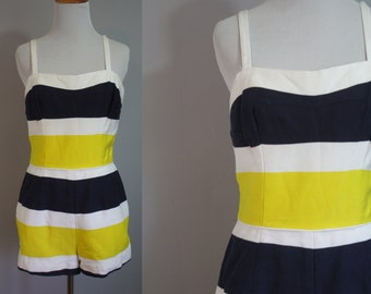 1950's Swimsuit // Yellow and Navy Striped // Medium