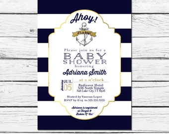 Nautical Baby Shower Invitation, Ahoy It's A Boy Baby Shower Invitation, Anchor Invitation, Nautical Invitation