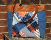 The Kate Tote: denim patchwork tote with vegan leather in tobacco color