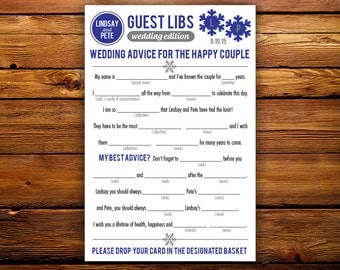 DIY Printable Winter Wedding Mad Libs Guestbook - Colors Customizable