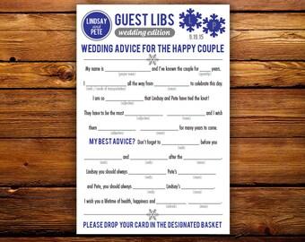 DIY Printable Winter Wedding Mad Libs Guestbook - Colors Customizable