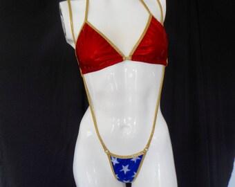 micro bikini, sling shot bikini ,wonder woman bikini , super hero slingshot ,exotic dancewear