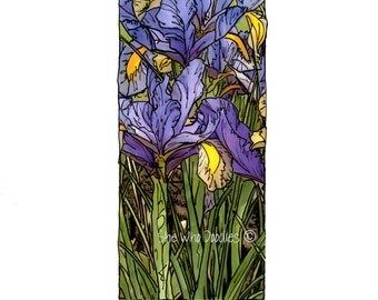 Purple Iris, Doodled Photo