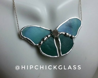 Butterfly Necklace, Statement Necklace, Stained Glass Butterfly Necklace, Teal Green, Crystal Necklace, Stained Glass Jewelry, Free Shipping